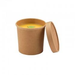 Pot kraft brun avec couvercle