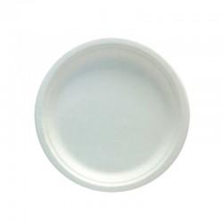 Assiette blanche en fibre végétale