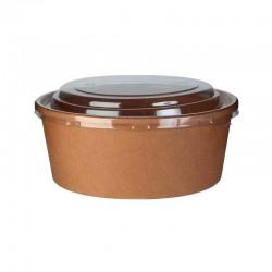 Bol kraft brun avec couvercle plastique