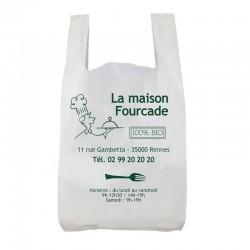 sac en plastique recyclé bretelle 50 microns blanc personnalisable