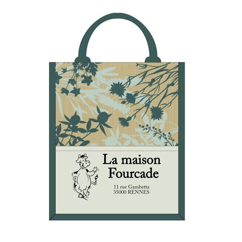 sac cabas toile de jute personnalisable vert motif herbal