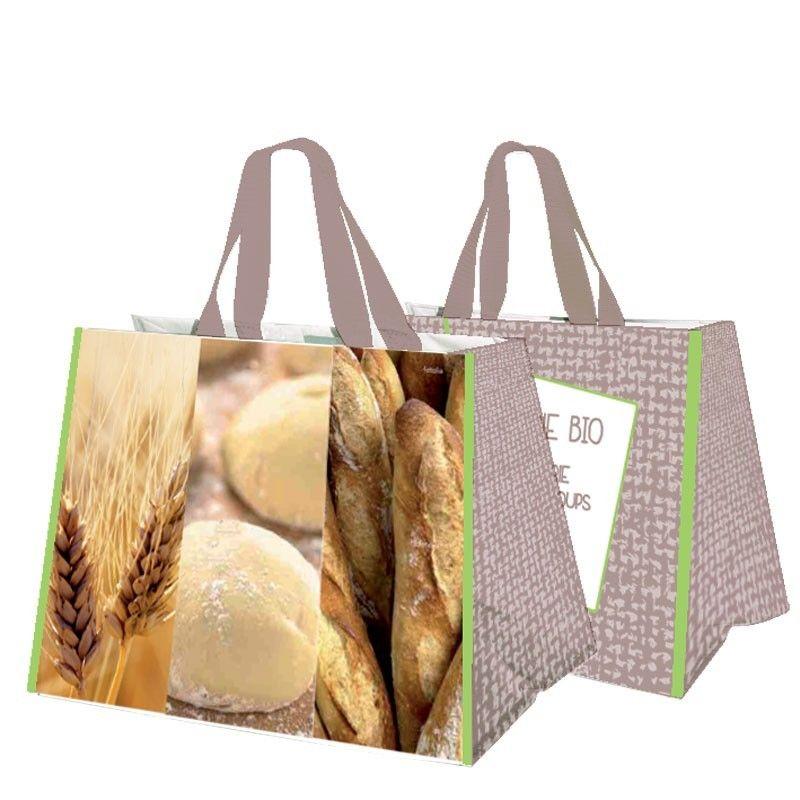 sac cabas polypropylène personnalisable pour boulangerie coloris taupe liseré vert
