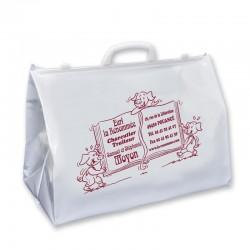 sac cabas de boucherie en plastique blanc personnalisable avec poignées rigides