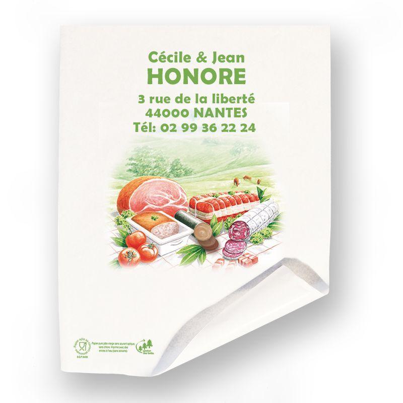 Papier alimentaire paraffiné personnalisé pour boucher charcutier 32x50 cm