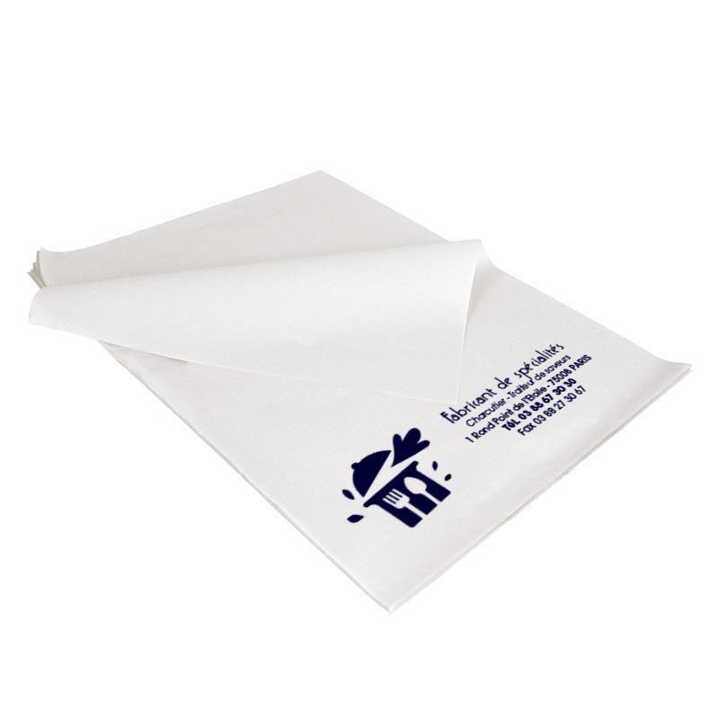 Papier paraffiné personnalisé blanc pour professionnels 25x32 cm