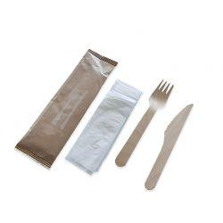 Sachet 3 couverts avec serviette