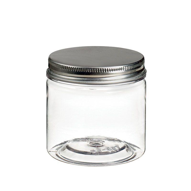 Pot à vis en plastique transparent avec couvercle alu