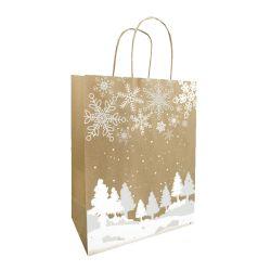 Sac cabas kraft blanc noel cadeau or ficelle