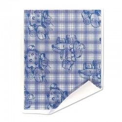 Papier duplex double double blanc motif fromager bleu
