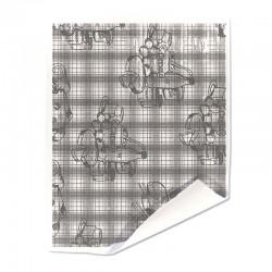 Papier duplex double double blanc motif fromager marron
