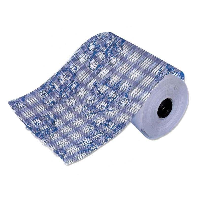 Papier enduit pe thermolim blanc motif fromager bleu