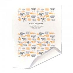Papier duplex paputyl blanc motif vache chèvre et compagnie