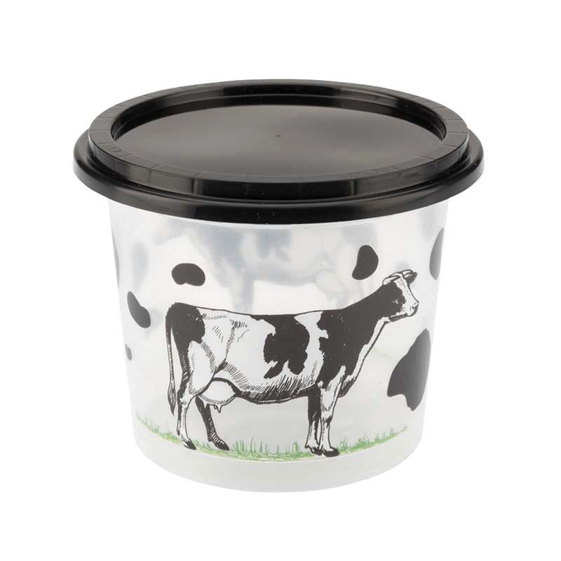 Pots plastique transparent vache et couvercle