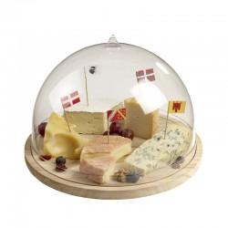 Plateau à fromage en bois et cloche dome
