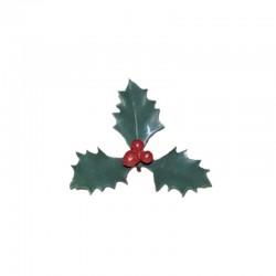 Décors fêtes feuilles de houx - Vert et rouge