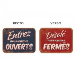 Pancarte vintage ouvert fermé recto bleu verso rouge