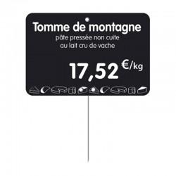 Étiquette prix PVC personnalisée pour fromager