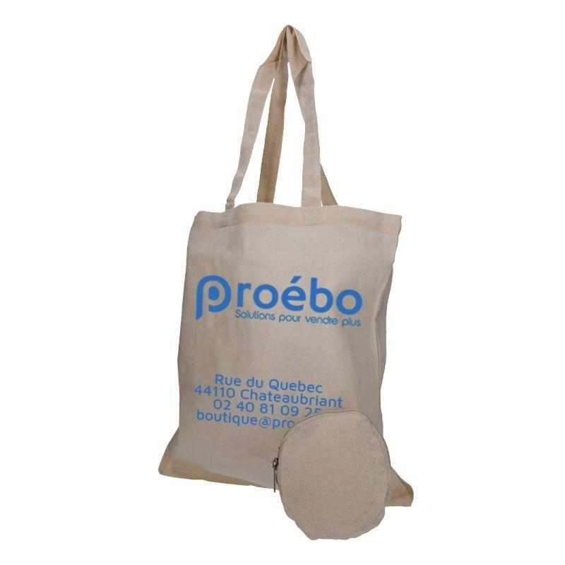 Sac réutilisable pliable coton naturel - personnalisable - 38x42 cm