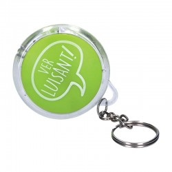 Porte cle lampe rond diametre 5.5 cm vert - motif ver luisant