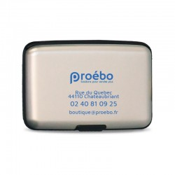 Porte cartes métallic gris - 11x7,5x2 cm - Personnalisable