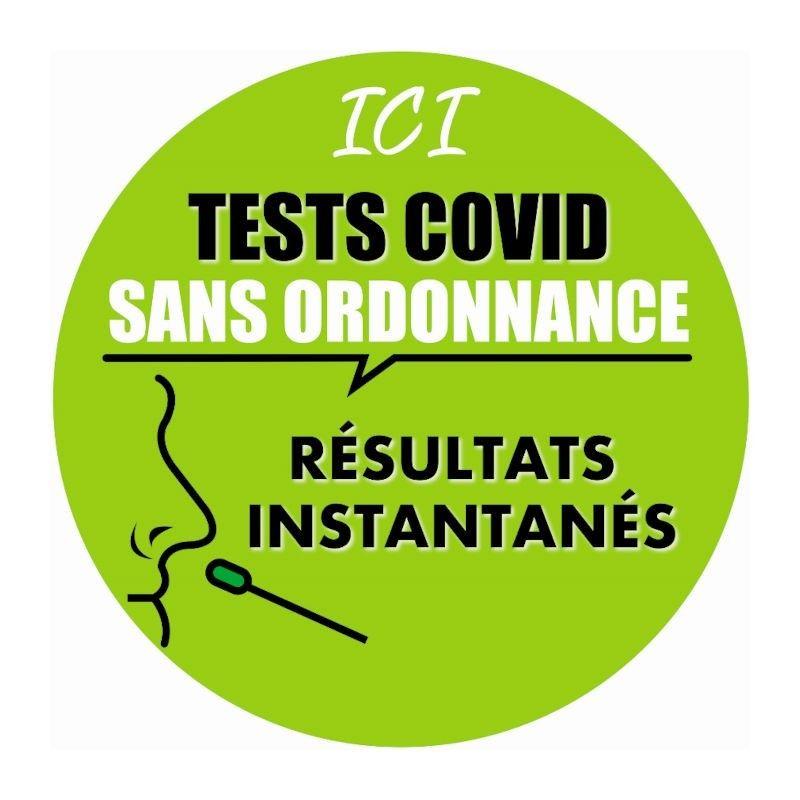 Vitrophanie électrostatique information test covid 19