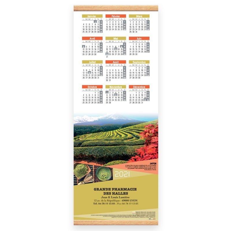 copy of Calendrier baguette 25 x 65 cm - Motif les thés a travers le monde