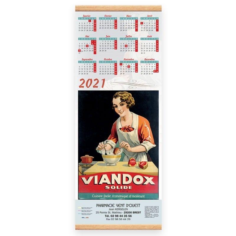 Calendrier baguette 25 x 65 cm - Motif vieilles affiches alimentaires