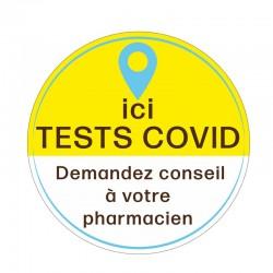 """Vitrophanie électrostatique """"Ici tests covid"""" - 40 x 40 cm"""