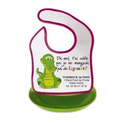 Bavoir bebe avec bac detachable - motif crocodile - tour en 676c + bac recup en vert anis