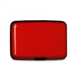 Porte multicartes metallic 11x7.5x2cm rouge