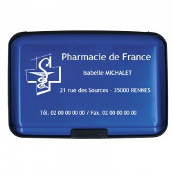 Porte cartes métallique bleu - 11x7,5x2 cm
