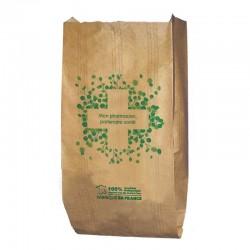Sachet papier kraft brun vergé - motif mon pharmacien partenaire - 15x8x29 cm