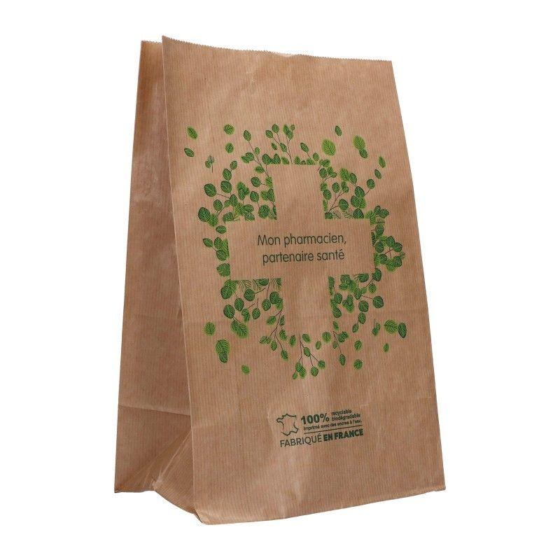Sachet papier pharmacie kraft blanc - motif mon pharmacien partenaire - 18x12x29 cm