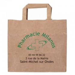 Sac papier pharmacie poignées plates kraft blanc - personnalisable - 26x18x25 cm