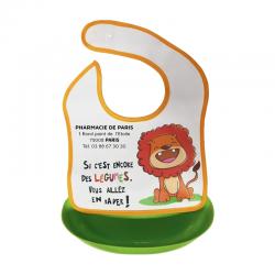 Bavoir bébé avec bac détachable motif lion