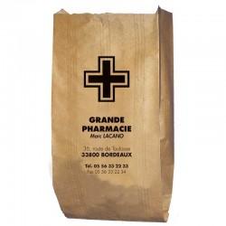 Sachet papier pharmacie kraft brun vergé - personnalisable - 15x8x29 cm