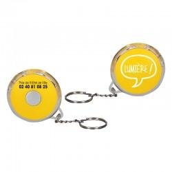 Porte cle lampe rond diametre 5.5 cm  jaune - motif lumiere