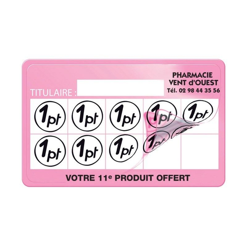 Carte de fidelite 86x54mm avec tampon perso coins ronds+film