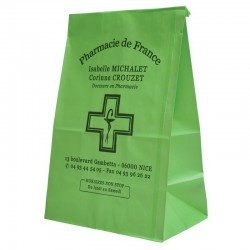 Sachet papier sos 18+12x29+12 kraft 50gr aplat total vert anis b608