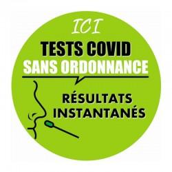 Vitrophanie électrostatique 70x70 cm - Message dépistage COVID 19