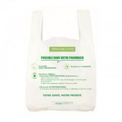 Sac plastique pharmacie bretelle blanc - Impression Dépistage COVID 19 -...