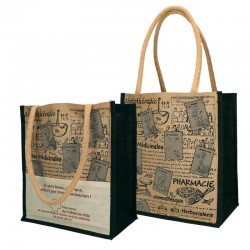 Sac toile jute 30+19x35+sf naturel - motif pharmacie authentique