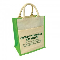 Sac toile jute 30+19x35+sf blanc - soufflets vert anis + pochette coton blanc