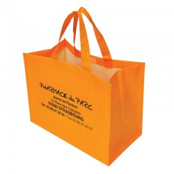 Sac non tisse 36+20x27+sf orange 1495c lamine avec scratch fermeture et anses 35x2.5cm