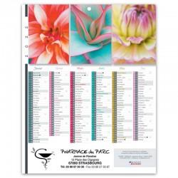 Calendrier Bancaire 21 x 26,5 cm - Motif fleurs