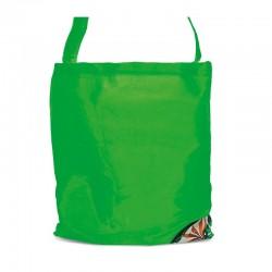 Sac polyester vert pliable pochette design 43.5x38cm
