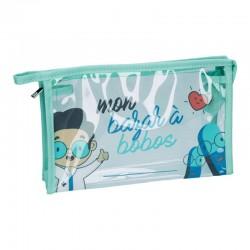 Trousse transparente humour bleu 23x15x7 cm
