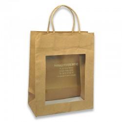 Sac papier p.torsadeés kraft brun avec fenêtre - 22x11x28 cm
