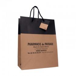 Sachet papier cordelette en kraft lisse noir - 18x10x22,7 cm