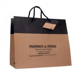Sac papier cordelette personnalisé en kraft lisse noir - 33x11,5x24 cm